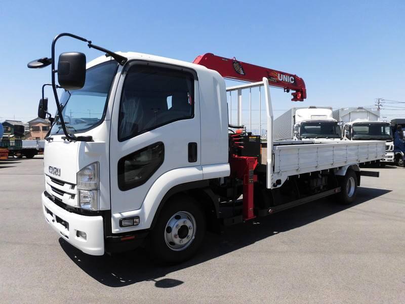 ベース車両の車両区分によってクレーンの能力が異なるクレーン付きトラック