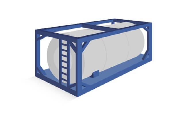 タンクコンテナ:液状のコンテナ輸送に用いられるコンテナ