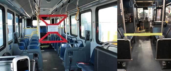 図5:運転席への立ち入りを禁止したバス車内(左:サンノゼ、右:シアトル)...ザ・トラック