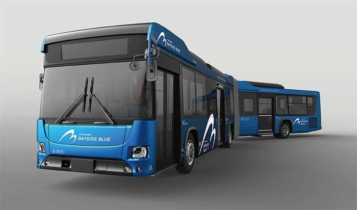 横浜市に納車された日野ブルーリボン ハイブリッド 連節バス「ベイサイドブルー」イメージ...ザ・トラック