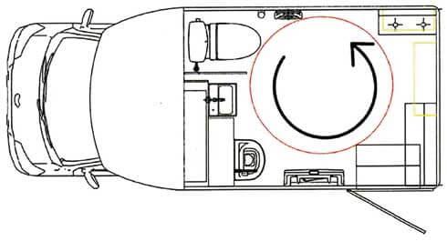 「ユニバーサルトイレカー」は室内で車イスが360度開展できるスペースが確保されている...ザ・トラック