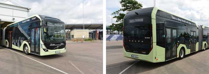 ボルボ・トラックス社の全電動連接バスの例。2018年夏に開催のボルボ・オーシャンレースの観客送迎にイエーテボリ市内で運行された...ザ・トラック