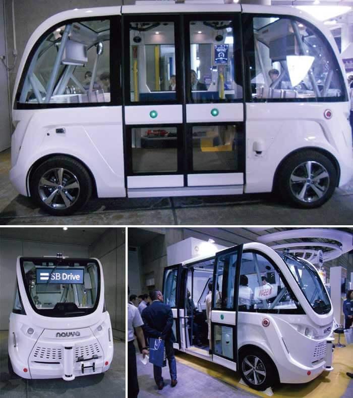 AUTONOM Ⓡ SHUTTLE自動化シャトルとメーカーであるNAVYA ARMA ナヴィア アルマ社が名付けた車は電動車の外観は前後左右が対称形状にデザインされている。ドアは左右にある...ザ・トラック