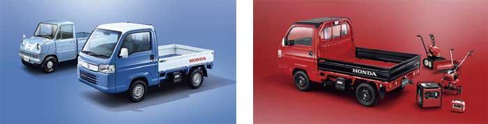 ACTY TRUCK TOWN 特別仕様車(ベイブルー×ホワイト)。奥は1963年にHonda念願の四輪進出第1号となった「T360」(左)ACTY TRUCK TOWN 特別仕様車のスピリットカラースタイル (フレームレッド×ブラック)(右)...ザ・トラック...ザ・トラック