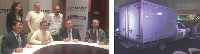 フィリピン共和国M.Lopez貿易産業大臣の立会いの下で行われたMOU調印式(左)、2018年10月に開催された「マニラ国際モーターショー」でタイのフルハーフマハジャッ ク製作の冷凍冷蔵ボディ2台を展示(右)...ザ・トラック