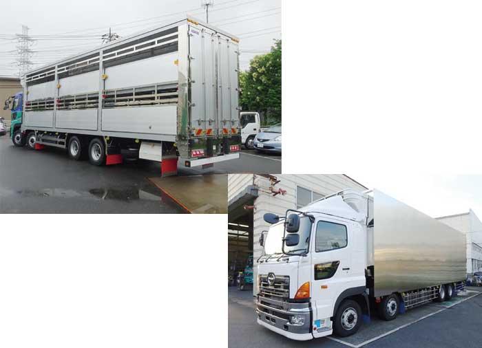 二段フロア昇降式豚運搬ボディ(左) 冷凍機付き航空貨物専用バンボディ(右)...ザ・トラック