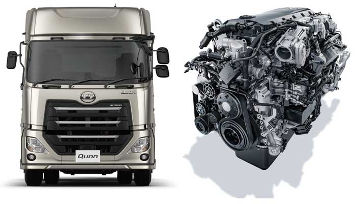 積載量重視のユーザーニーズに対応した大型トラック「クオン」(左)新搭載の8L エンジン。ボルボ・グループで3 万基の稼働実績を持っている(右)...ザ・トラック