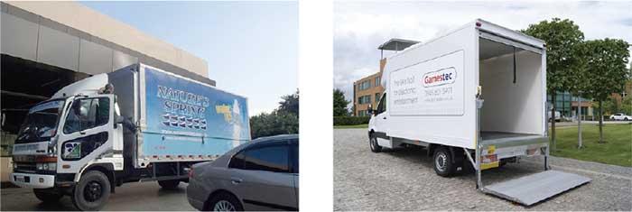 スーパーマーケットに出入りするトラック(左)ラックに搭載されている約400㎏のリフトゲート(右)...ザ・トラック