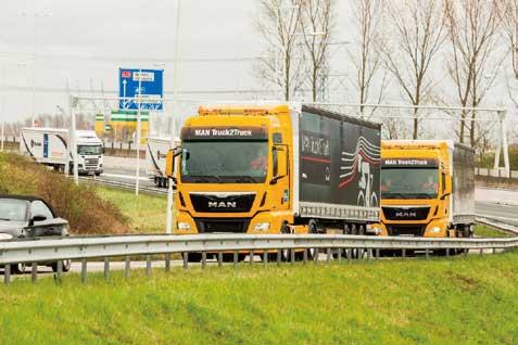 MANの隊列はセミトレ2台構成。独ミュンヘンから845km走行してゴールした。スウエーデンのSCANIAと共に独VWのグループに属している現在、隊列走行技術には両車が共有する部分は多いものと推測される。...ザ・トラック