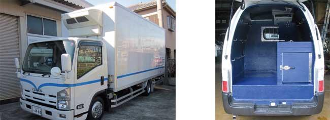美術品運搬車用空調装置(左) 野良犬運搬車用空調装置(右)...ザ・トラック