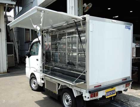同社オリジナル架装の軽四輪をベースにしたパン・乳製品向け移動販売車。細かなユーザーニーズが随所に取り入れられている...ザ・トラック