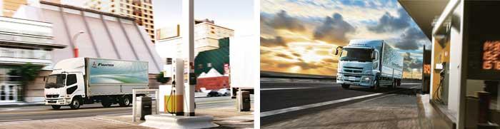 三菱ふそうの中型トラック「ファイター」(参考写真)(左) 三菱ふそうの大型トラック「グレート」(参考写真)(右)...ザ・トラック