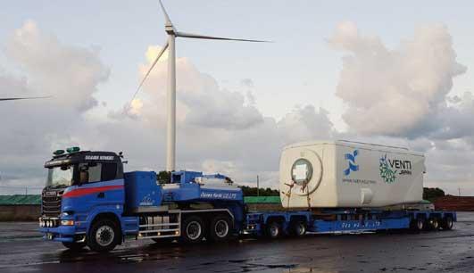 到着した風力発電の発電装置部分 約85t...ザ・トラック