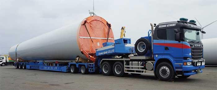 長大な風力発電の支柱部の輸送...ザ・トラック