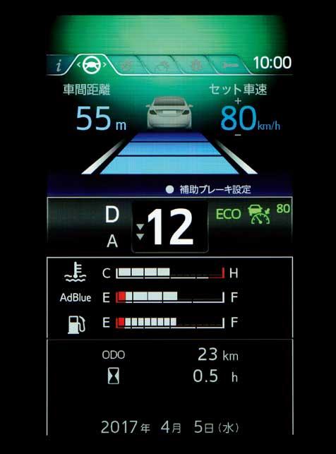 基本表示は、車間距離と速度(この場合はクルーズコントロールをセットして走行中の場合)と水温、尿素触媒量、燃料残量が表示される...ザ・トラック