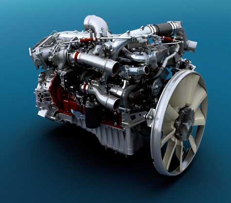 新開発のA09C型エンジン外観。排気量は7Lながら吸気系に2段過給方式を採用して11LのE13C型に肉薄する出力が出る。車両重量の軽量化に最も寄与している...ザ・トラック