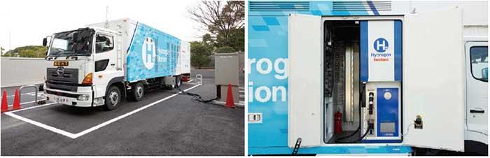 移動式の水素ステーションもすでに開発されている。右は移動式水素ステーションの水素供給を行うディスペンサー...ザ・トラック