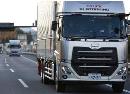 実験に参加した新型「クオン」...ザ・トラック