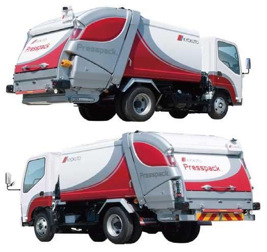新型2t車級プレス式ごみ収集車「プレスパック」。ボデー容積4.3のGB43-220(上)とボデー容積5.9㎥のGB59-230(下)...ザ・トラック