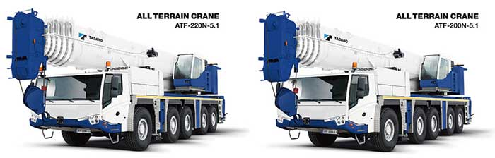 タダノ新型オールテレーンクレーン。最大吊上げ荷重220tのATF-220N-5.1(左)と最大吊上げ荷重200tのATF-200N-5.1(右)...ザ・トラック