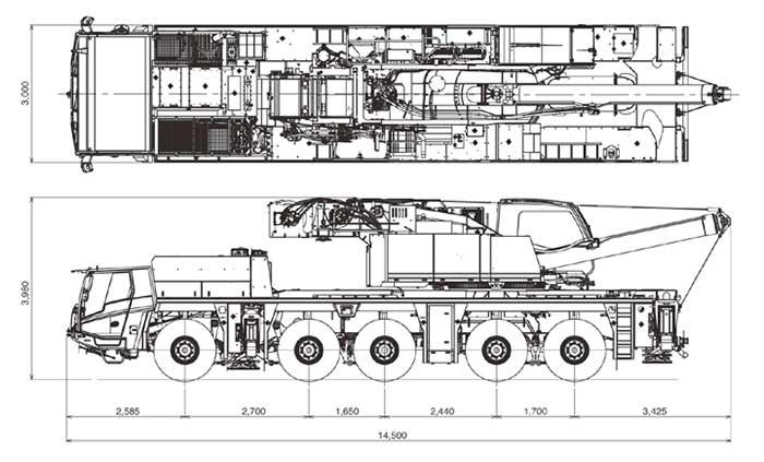 新型オールテレーンクレーンの公道走行状態(ATF-220N-5.1)...ザ・トラック