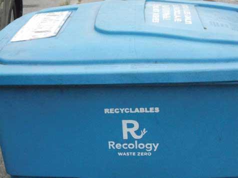 大きなR文字をあしらったリサイクル運動〝Recology〟の表記がある...ザ・トラック
