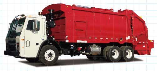 リアローダー式ゴミ収集車の例(EZ Pack社製)。圧縮機能は無い(シャシはMACK車)...ザ・トラック