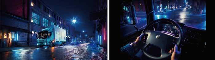 ボルボVolvoのFL型電動車。特徴の一つである静かな稼働が夜間運用にも向いていることを訴求する写真だ。日中の交通混雑を緩和できるとする...ザ・トラック