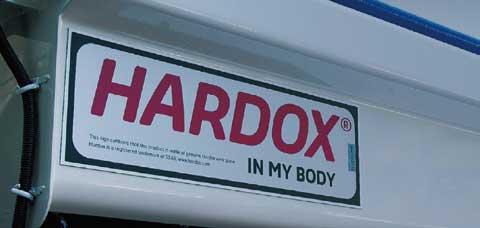 耐摩耗鋼板「HARDOX」の特性をもった製品の証である「HARDOX IN MY BODY」 の認定を受けている...ザ・トラック
