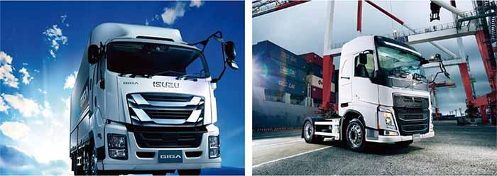 いすゞの大型トラックとVOLVOのトラクタヘッド…ザ・トラック