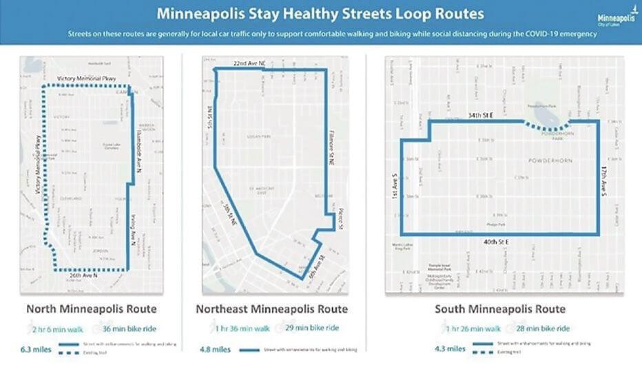 ミネアポリス Stay Healthy Streets マップ