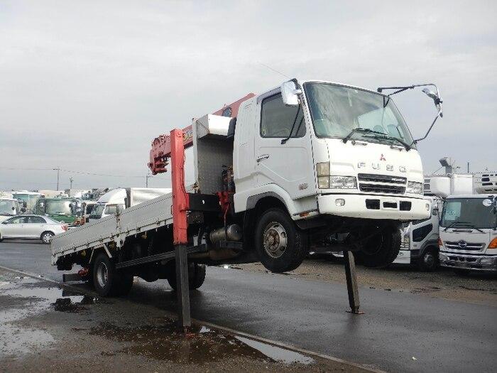 三菱 ファイター 中型 車輌重機運搬 6段クレーン ラジコン|トラック 右後画像 リトラス掲載