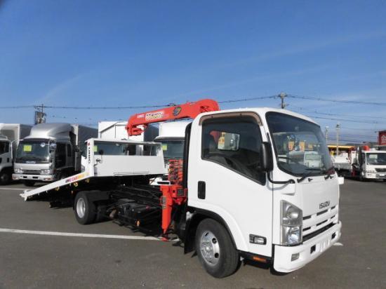 いすゞ エルフ 小型 車輌重機運搬 3段クレーン ラジコン|トラック 右後画像 リトラス掲載