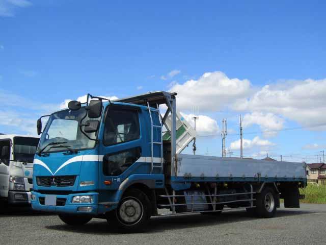 三菱 ファイター 中型 平ボディ 床鉄板 アルミブロック トラック 左前画像 トラックバンク掲載